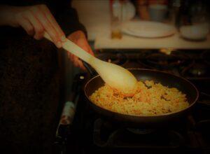 vegan spanish rice in pan